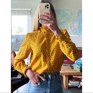 Vintage Yellow Paisley Button Up Mock Neck Blouse
